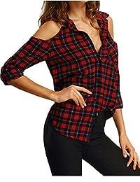 Shinekoo Women Long Sleeve Plaid Shoulder off Shirt Blouse Autumn Tops