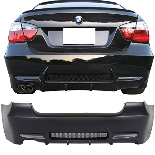 Rear Bumper Cover Fits 2006-2011 BMW E90 E91 | 3-Series M3 Style PP Rear Bumper Conversion Replacement Diffuser Single Outlet by IKON MOTORSPORTS | 2007 2008 2009 2010 ()