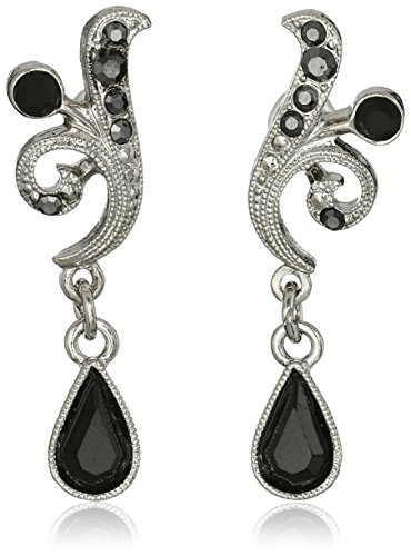 1928 Jewelry Silver-Tone Black and Hematite Color Crystal Vine Drop ()