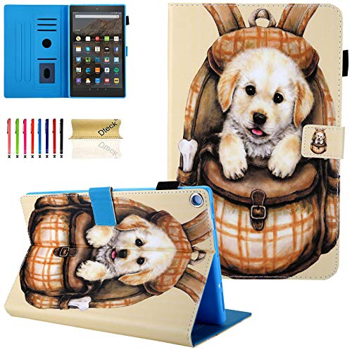 Dteck Case for All-New Amazon Fire HD 10 Tablet (7th Generation, 2017 Release) - Slim Fit PU Leather Folio Stand Smart Cover with Auto Wake/Sleep for Fire HD 10.1 inch, Cute Dog (Kindle Fire Dog Case)