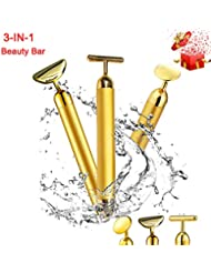 3-in-1 Beauty Bar 24k Golden Pulse Facial Face Massager, Instant Face Lift, Anti-Wrinkles, Skin Tightening, Face Firming, Eliminate Dark Circles, Gift for Women, Mother, Friends, Colleagues