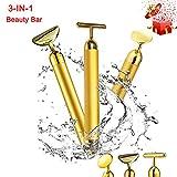 Best Face Massagers - 3-in-1 Beauty Bar 24k Golden Pulse Facial Massager,T-Shape Review