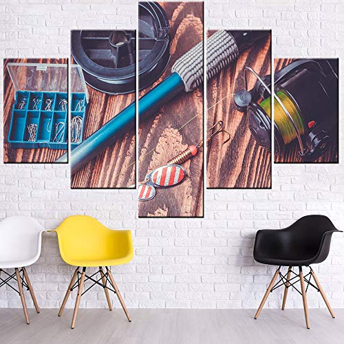 Living Room Decorations for Wall Fishing Reel and Rod Pictures Brown Paintings Multi Panel Prints Wall Art on Canvas Contemporary Artwork for Home Framed Gallery-Wrapped Ready to Hang(60''Wx40''H)