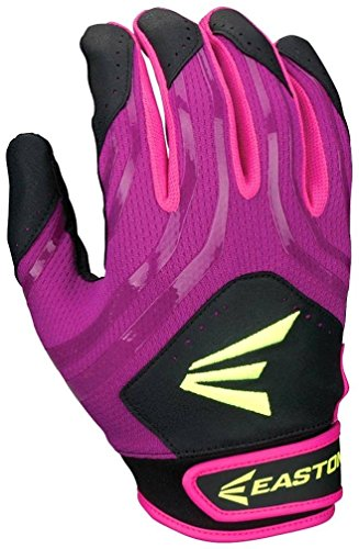 Easton HF3 Fastpitch Youth Gloves, Purle/Pink/Green/Green, Large
