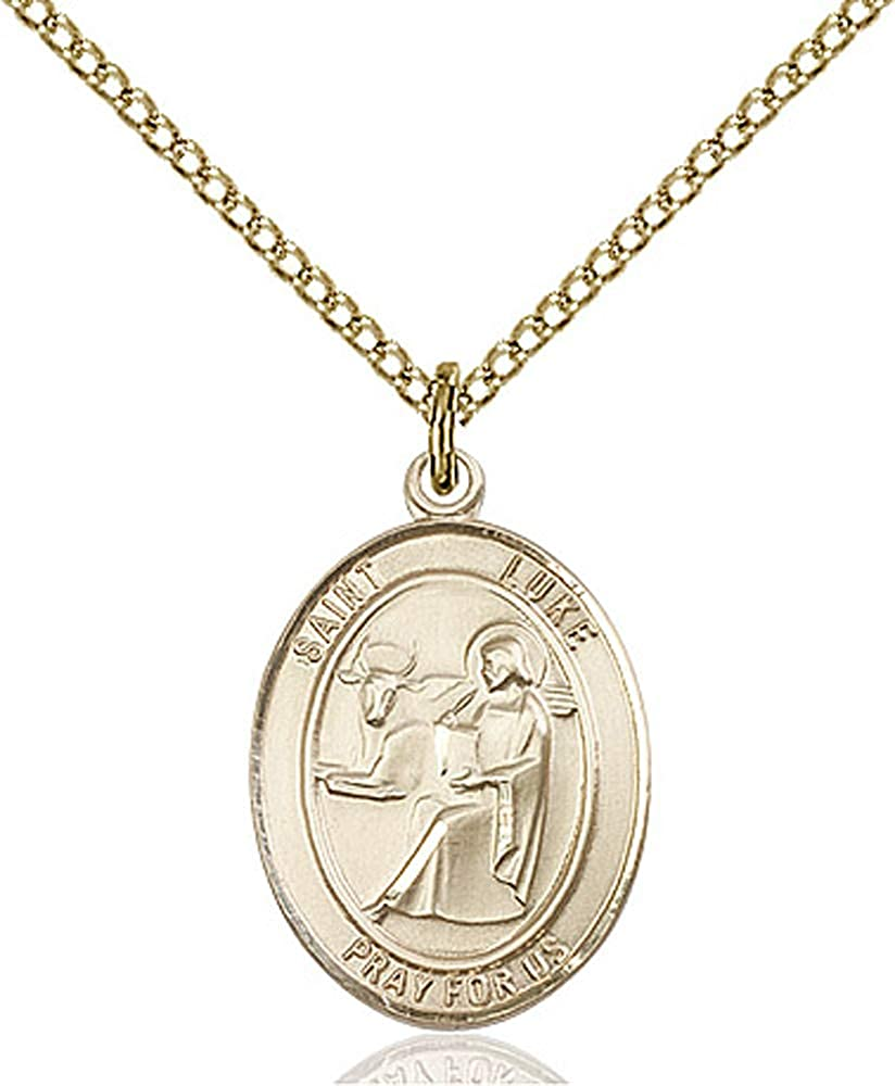 Luke the Apostle Pendant Gold Filled Lite Curb Chain Patron Saint Physicians//Painters 3//4 x 1//2 14kt Gold Filled St