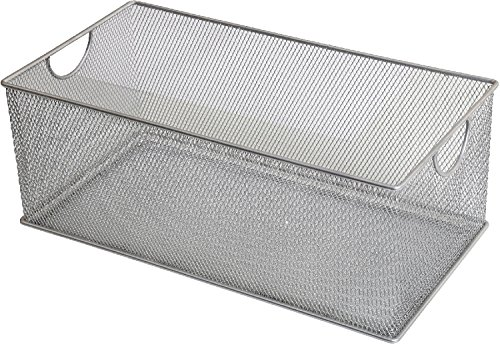 Ybm Home Household Wire Mesh Open Bin Shelf Storage Basket Organizer For Kitchen, Cabinet, Fruits, Vegetables, Pantry Items Toys 2318s (1, 15.5 x 8 x 6.1) by Ybmhome