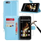 BLU Energy X2 Leather Wallet Case + Screen Protector, Gzerma Lightweight PU Leather Stand View Feature with Card Slots Cover and Bubble Free Protective Film for BLU Energy X 2 (Blue)