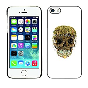 MobileHut / Apple Iphone 5 / 5S / Trees Forest Skull Nature Deep White / Delgado Negro Plástico caso cubierta Shell Armor Funda Case Cover