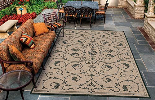 Cocoa Black Area Rug - Couristan 1583/2500 Recife Veranda 5-Feet 3-Inch by 7-Feet 6-Inch Rug, Cocoa and Black