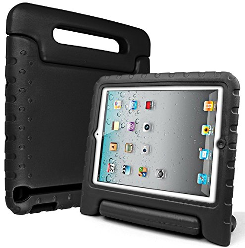 iPad2,iPad3,iPad4 Eva Case-SIMPLEWAY Kids Friendly Durable Light Weight Shock Proof Protective Carrying Handle Stand Cover Case for Apple iPad 2/3/4 Tablet,Black