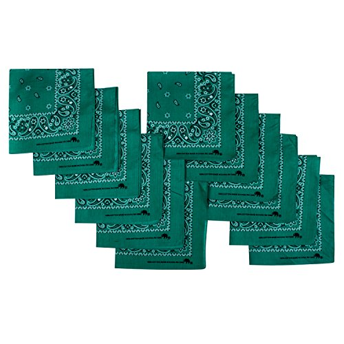 Elephant Brand Bandanas 100% cotton since 1898-12 Pack (Green Leaf)