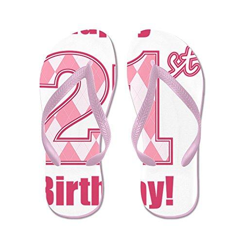 CafePress Happy 21St Birthday - Pink Argyle - Flip Flops, Funny Thong Sandals, Beach Sandals Pink