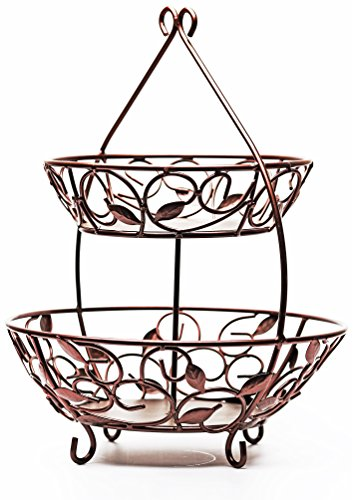 f Design Bronze Metal 2-Tier Round Fruit Storage Wire Display Basket Bowl for Food, Vegetables, Best Selling Home & Kitchen Table Counter Cabinet Gift, 17
