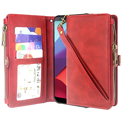 Galaxy S8 Active Case, Linkertech Premium Leather Flip Zipper Wallet Case Cover with Stand Feature & Card Holder & Wrist Strap for Samsung Galaxy S8 Active (Red)