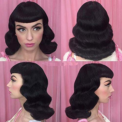Retro Rockabilly Vintage Wig Audrey Hepbum Short Bang Wig Long Finger Cute Black Synthetic Wig with Flat Bangs Jet Black Full Daily Wigs for Women Natural Party As Real -