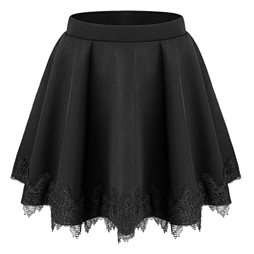 Pleat Hem Skirt (Bulotus Summer Skirt For Women, Womens Casual Mini Skater Skirt Pleat Flare Skirt For Juniors (L, Black))