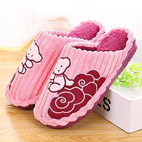 Eastlion Winter Corduroy Couple Home Indoor Cotton Shoes Bear Pattern Floor Warm Slippers Female Pink LfodD12qS0