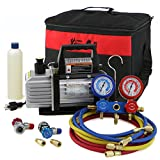 XtremepowerUS 3CFM or 4CFM Air Vacuum Pump HVAC A/C Refrigeration Kit AC Manifold Gauge Set (3CFM 1/4HP Air Vacuum Pump)