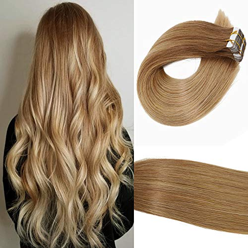 2019 Fashion Hair Color HUAYI Auburn to Blonde Ombre Tape In Hair Extensions Human Hair 14inch 50g 20Pcs Soft Thick End Tangle Free Tape Durable Silky Straight Hair Extension Balayage Hair (10T14#14) (Best Remy Hair Extensions 2019)