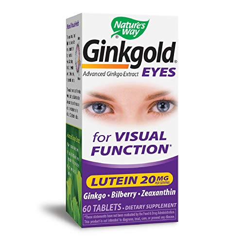 (Nature's Way Ginkgold Eyes, Visual Health Formula*, Gluten Free, 60 Vegan Tablets)