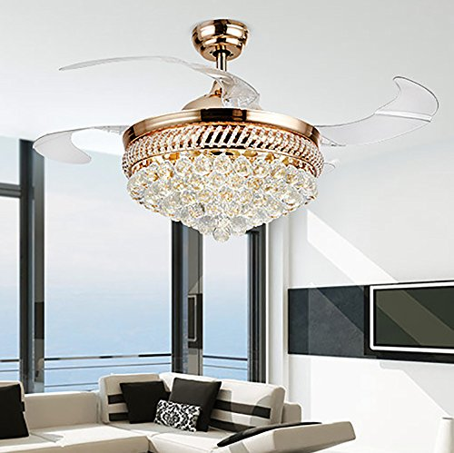 colorled modern crystal remote control transparent acrylic blade retractable ceiling fan lamp 42inch lighting fan chandelier