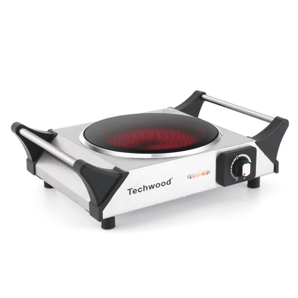Techwood Single Burner Electric Ceramic Stove, Countertop Burner, Portable Electric Cooktop 1200 Watt