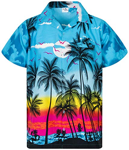 King Kameha Funky Hawaiian Shirt, Shortsleeve, Beach, Turquoise, 5XL]()