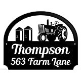 Outdoor Metal Personalized Address Sign With Tractor Scene