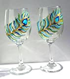 Hand Painted Peacock Feather Stemmed Wine Glasses (Set Of 2) For Sale