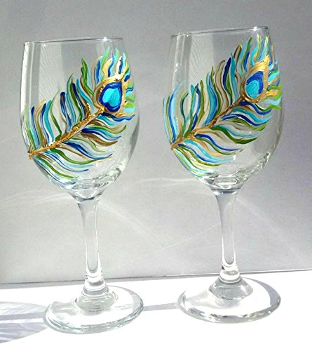 Hand Painted Peacock Feather Stemmed Wine Glasses (Set Of - Glasses Peacock Wedding