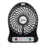 Glodeals USB Mini Clip-on Portable Fan Rechargable Li Battery 360 Degree Adjustable Air Circulator Table Fan Portable for Household Outdoor Camping (Black)