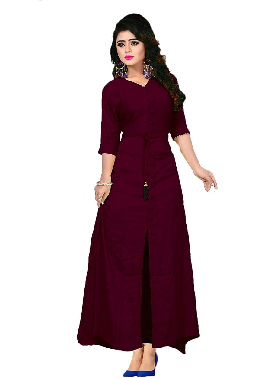 24a8e10914b2 Vaidehi Creation Women V Neck Style Loose Plain Maxi Dresses Casual Long  Dresses (Maroon)  Amazon.in  Clothing   Accessories