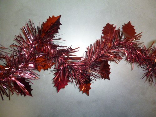 Pms 2.4 Metre Length (8ft) Holly Leaf Tinsel Garland In Dark Red/ Burgundy (pm33)
