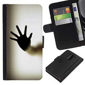 KLONGSHOP // Tirón de la caja Cartera de cuero con ranuras para tarjetas - Cuerpo de la mano de Palm Ventana de huellas dactilares Arte - LG G3 //