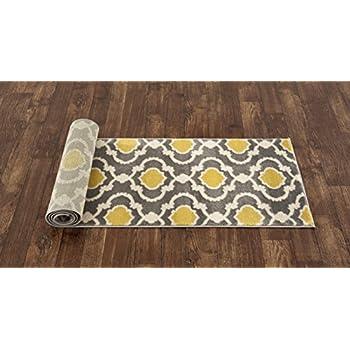 "Rugshop Moroccan Trellis Contemporary Indoor Area Rug Runner, 2 x 72"", Gray/Yellow"