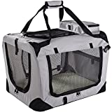 "Lightweight Fabric Pet Carrier Crate with Fleece Mat and Food Bag - Extra Large (32 x 23 x 22"") - Grey"