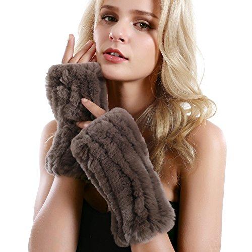 VEMOLLA Women Real Rabbit Fur Knit Gloves Mittens Winter Warm Fingerless Hand Warmer