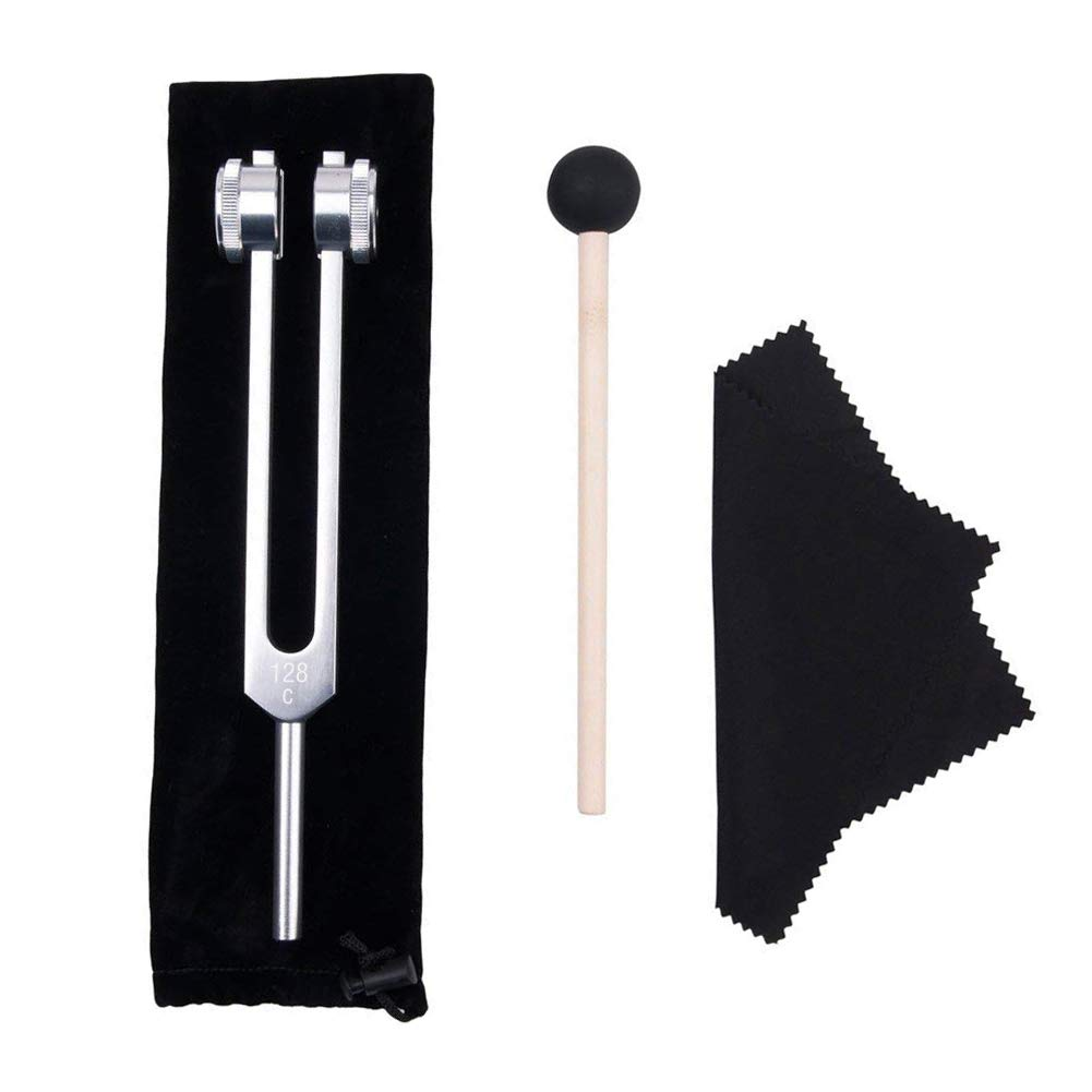 Tuning Fork, 128 Hz Tuning Fork Weights Aluminum Clinical Grade Nerve/Sensory with Silicone Hammer and Cleaning Cloth - Packaged in Soft Storage Bag - Non-Magnetic Aluminum Alloy