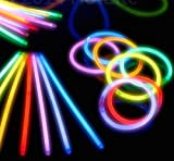 Adorox 100 pcs Light Up Glow Sticks Bright Neon Glo Lite Stix 8'' Bracelet Necklace Favors Lot
