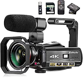 Video Camera, Zohulu 4K Camcorder WiFi Ultra HD Vlogging Camera for YouTube, 3.1'' IPS Screen 30X Digital Zoom Night…