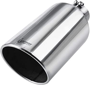 "3/"" inlet 4/"" outlet 7/"" Long Polished Double Wall 304 Stainless Steel Exhaust Tip"