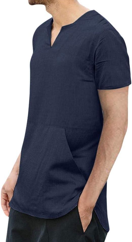Weant - Camisa de Lino para Hombre, de Manga Corta, Lisa, de ...