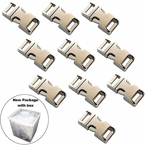 5/8-Inch 10pcs Heavy Duty Metal Side Release Buckles Silver Color For Paracord Bracelets by (Silver Metal Buckle)