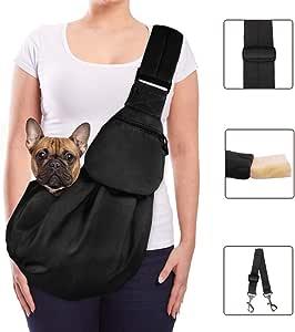Lukovee Pet Sling, Hand Free Dog Sling Carrier Adjustable Padded Strap Tote Bag Breathable Cotton Shoulder Bag Front Pocket Safety Belt Carrying Small Dog Cat Puppy Machine Washable (Black)