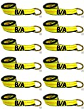 Ships in 1 to 2 Business Days! BA Products 38-1-10-x12 10' Lasso Strap (set of 12) for Wheel Lift, Wrecker, Rollback, Tow Truck. Fits JerrDan, Century and more.