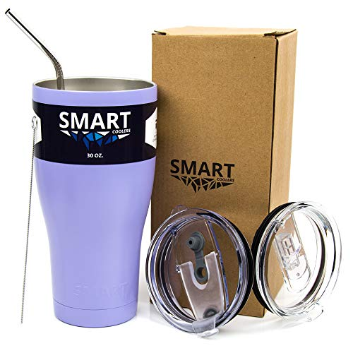 Tumbler 30 Oz Color - Ultra-Tough Double Wall Stainless Steel Tumbler Cup - Premium Insulated Mug - Keep Coffee & Ice Tea - Powder Coated - Leak-Proof, Sliding Lid, Straw, Brush & Gift Box - Lilac