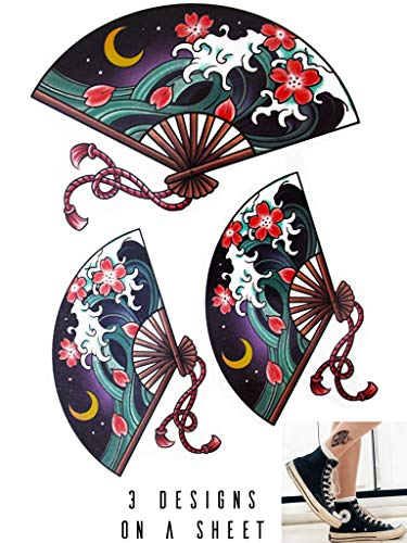 Novu Ink Japanese Fan Wave Design Temporary Tattoos | 3 Designs on a Sheet | Fake Tattoos | Art Design Transfers/Stickers | For Body, Arm, Leg etc | (11cm x 7cm)