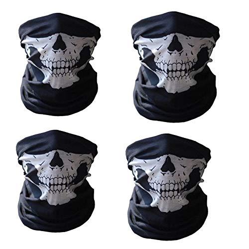 4 Pieces Seamless Skull Face Tube Mask Motorcycle Face Skull Mask Ski Skull Party Sport Halloween Mask for Bike Motor -