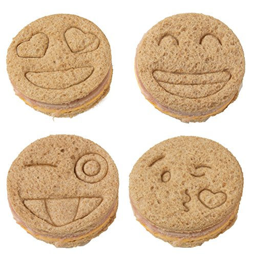 Emoji Sandwich Cutters - 4 pk - Fun Bread & Cookie Cutters with Cute Emoji Designs