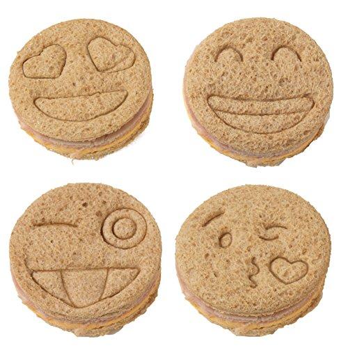 Emoji Sandwich Cutters - 4 pk - Fun Bread & Cookie Cutters with Cute Emoji Designs by Bentology